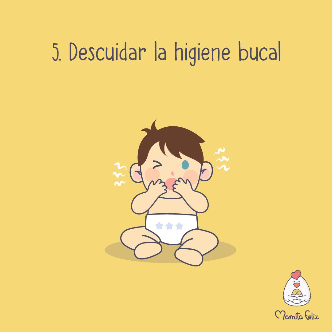 errores de madres primerizas descuidar la higiene bucal del bebe