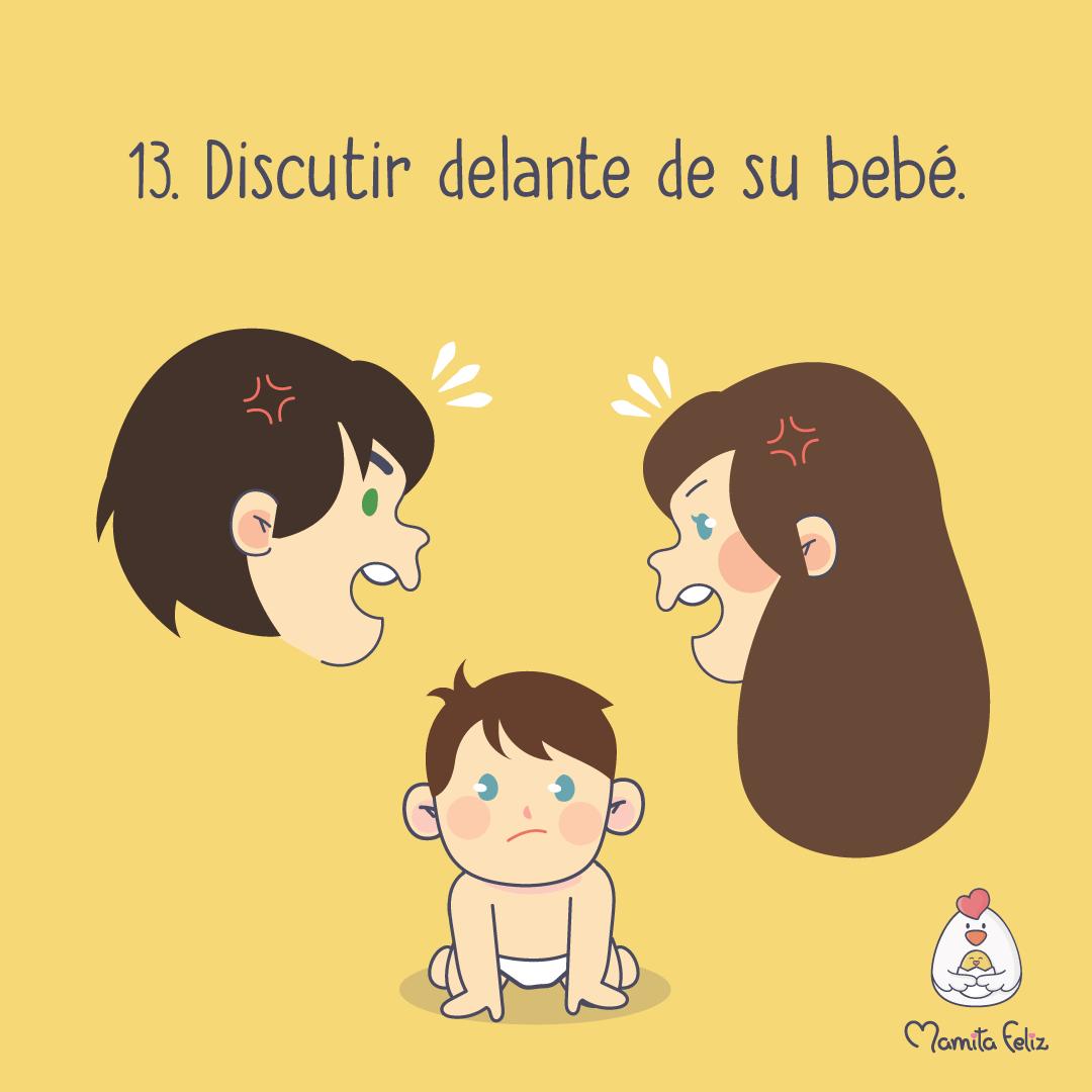 errores de madres primerizas discurtir delante del bebe