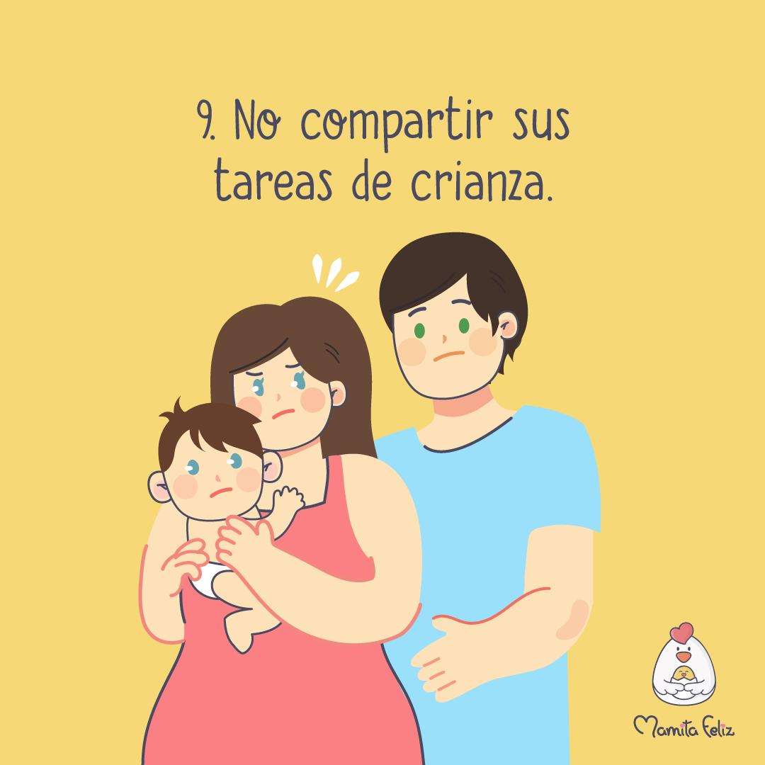 errores de madres primerizas no compartir tareas de crianza del bebe