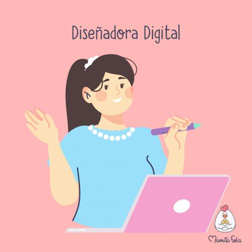 diseñadora digital entre los trabajos para mamás solteras
